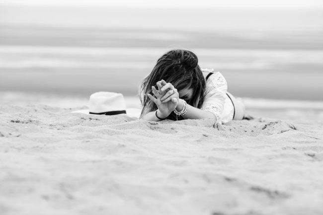 Photo noir et blanc plage
